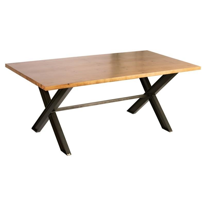 Mesa de hierro y madera dise o industrial 160 90 modelo for Mesas de diseno industrial